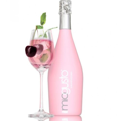 pink bottle and glass